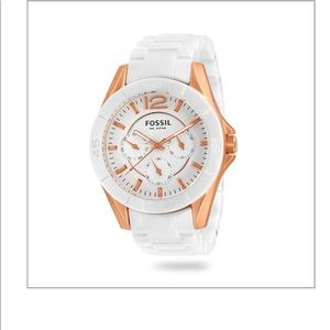 Fossil White and Rose Gold Ceramic Watch